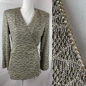 Cachet Beige Gold Jeweled Knit Top Wrap 10
